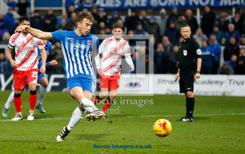 Rhys Oates of Hartlepool United taking a penalty during the Sky Bet League 2 match at Victoria Park, Hartlepool<br /> Picture by Simon Moore/Focus Images Ltd 07807 671782<br /> 21/01/2017