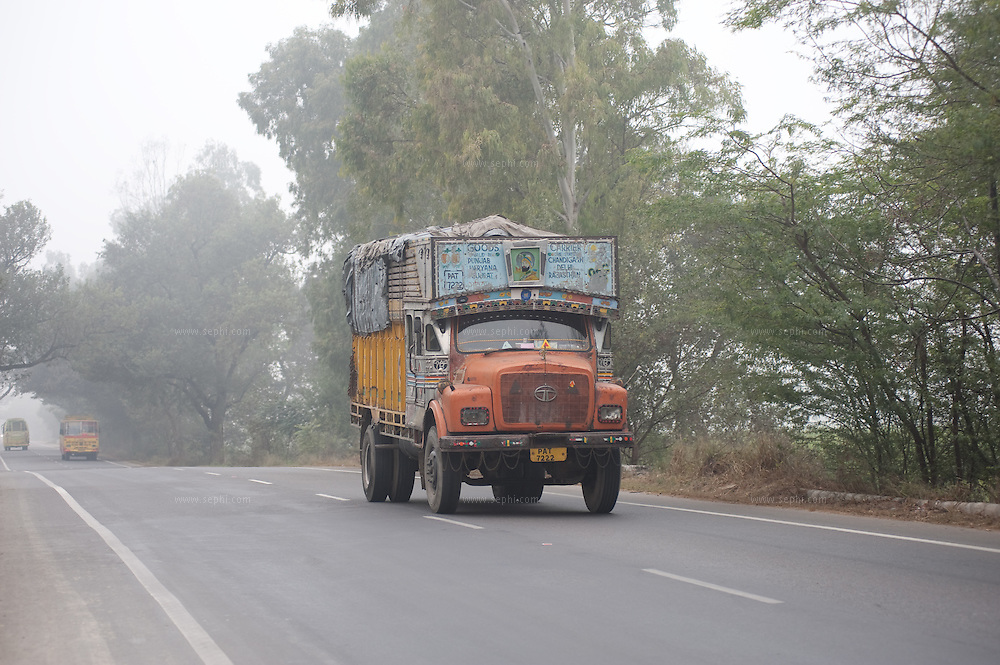 Truck on a highway in Punjab.
