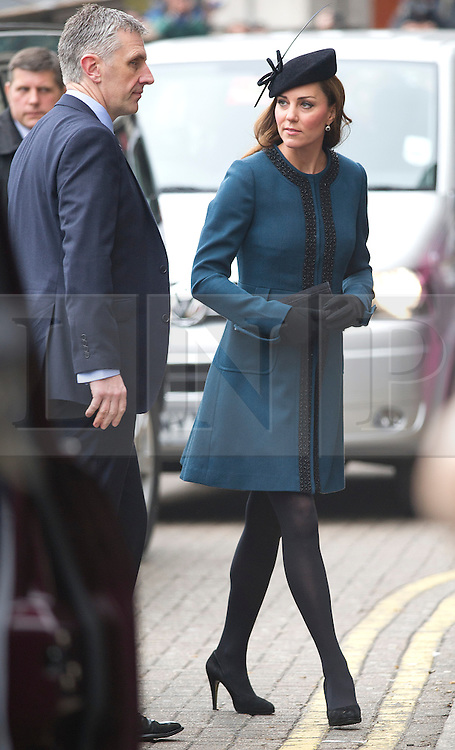 © London News Pictures. 20/03/2013. London, UK.  Catherine, Duchess of Cambridge arriving at Baker STreet Station in London on March 20, 2013. HRH The Queen and Duke of Edinburgh  travelled with the Duchess of Cambridge today to Baker Street Underground station in London to mark the transport network's 150th anniversary. Photo credit: Ben Cawthra/LNP.