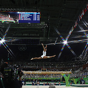 Gymnastics - Olympics: Day 10  Marine Boyer #333 of France performing her routine in the Women's Balance Beam Final during the Artistic Gymnastics competition at the Rio Olympic Arena on August 15, 2016 in Rio de Janeiro, Brazil. (Photo by Tim Clayton/Corbis via Getty Images)<br /> <br /> (Note to editors: A special effects starburst filter was used in the creation of this image)