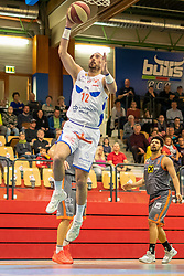 13.04.2019, SPH Walfersam, Kapfenberg, AUT, Admiral BBL, Kapfenberg Bulls vs Raiffeisen Fürstenfeld Panthers, 33. Runde, im Bild Marino Sarlija (Kapfenberg Bulls) // during the Admiral Basketball league, 33th round match between Kapfenberg Bulls and Raiffeisen Fürstenfeld Panthers at the SPH Walfersam in Kapfenberg, Austria on 2019/04/13. EXPA Pictures © 2019, PhotoCredit: EXPA/ Dominik Angerer