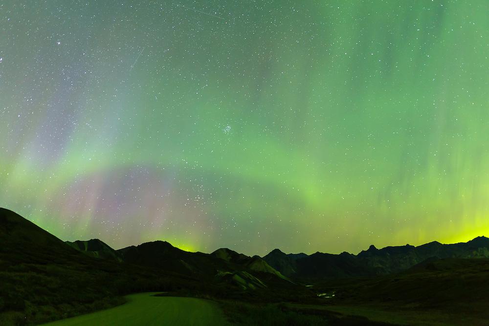 Aurora above Sable Pass in Denali National Park in Interior Alaska. Autumn. Evening.