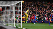 Wayne Hennessey with a world class save to deny Southampton during the Barclays Premier League match between Crystal Palace and Southampton at Selhurst Park, London, England on 12 December 2015. Photo by Michael Hulf.