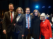 Hempstead, New York, USA. January 1, 2018. L-R, Congressman TOM SUOZZI, Nassau County Supervisor LAURA GILLEN, NY Senator TODD KAMINSKY, Congresswoman KATHLEEN RICE, and Town of North Hempstead Supervisor JUDI BOSWORTH are on stage shortly before Swearing-In of Laura Gillen as Hempstead Town Supervisor, and Sylvia Cabana as Hempstead Town Clerk are held at Hofstra University.