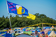 Early morning in the main campsite - The 2018 Latitude Festival, Henham Park. Suffolk 14 July 2018