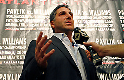 Sept 29, 2009; East Rutherford, NJ, USA; HBO Announcer Bob Papa speaks during the press conference announcing the December 5, 2009 World Middleweight Championship fight between Kelly Pavlik and Paul Williams. The two will meet at Boardwalk Hall in Atlantic City, NJ.  Mandatory Credit: Ed Mulholland