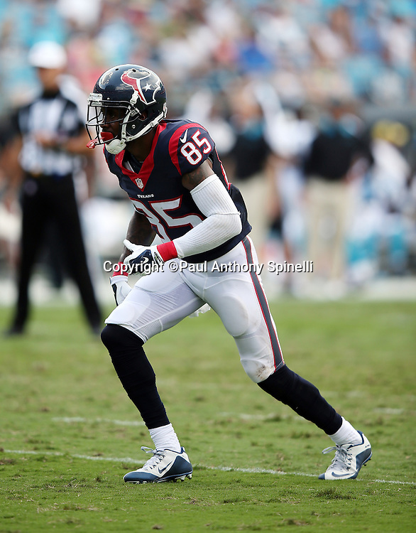 Houston Texans wide receiver Nate Washington (85) goes out for a pass during the 2015 NFL week 2 regular season football game against the Carolina Panthers on Sunday, Sept. 20, 2015 in Charlotte, N.C. The Panthers won the game 24-17. (©Paul Anthony Spinelli)