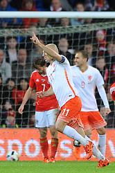 Arjen Robben of The Netherlands celebrates his goal - Mandatory byline: Dougie Allward/JMP - 07966 386802 - 13/11/2015 - FOOTBALL - Cardiff City Stadium - Cardiff, Wales - Wales v Netherlands - International Friendly