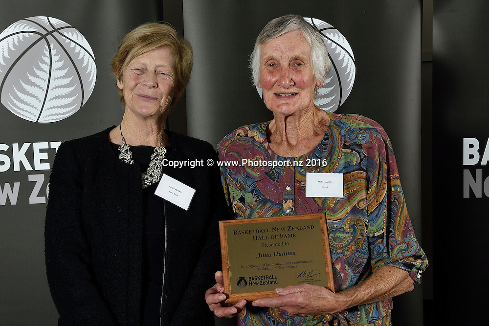 Anita Hannen (R receives a Hall of Fame plaque from Karen Poutasi during the Basketball New Zealand awards evening at the Mercure Hotel in Wellington on Friday the 20th of May 2016. Copyright Photo by Marty Melville / www.Photosport.nz