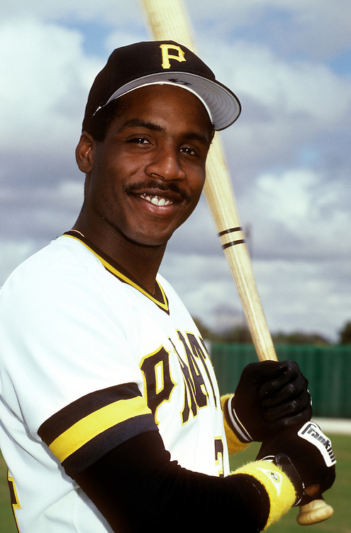 BRADENTON,FL-1987:  Barry Bonds of the Pittsburgh Pirates smiles for the camera during batting practice at spring training in Bradenton, Florida in 1987.   (Photo by Ron Vesely)