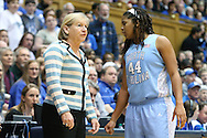 03 March 2013: UNC head coach Sylvia Hatchell (left) with Tierra Ruffin-Pratt (44). The Duke University Blue Devils played the University of North Carolina Tar Heels at Cameron Indoor Stadium in Durham, North Carolina in a 2012-2013 NCAA Division I and Atlantic Coast Conference women's college basketball game. Duke won the game 65-58.