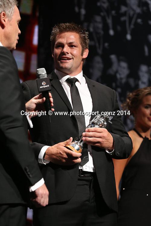 All Black captain Richie McCaw accepts the Sport New Zealand Leadership Award at the 51st Westpac Halberg Awards. Halberg Disability Sport Foundation. Vector Arena, Auckland, New Zealand. Thursday 13 February 2014. Photo: Fiona Goodall/www.photosport.co.nz