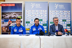Ljubomir Vranjes head coach of Slovenian national team with Franjo Bobinac during media day of Slovenian national handball team on December 27, 2019 in Zrece, Slovenia. Photo By Grega Valancic / Sportida