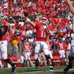 Apr 18, 2009; Piscataway, NJ, USA; Rutgers QB Domenic Natale throws a pass to WR Mohamed Sanu (not pictured) during the second half of Rutgers' Scarlet and White spring football scrimmage.
