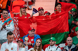 Belarus support during the match Arantxa Rus against Aryna Sabalenka in the Fed Cup qualifier against Belarus in Sportcampus Zuiderpark, The Hague, Netherlands