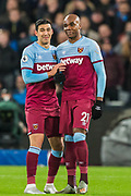 Fabian Balbuena (West Ham) with goalscorer Angelo Ogbonna (West Ham) waiting the result from Kevin Friend (Video Assistant Referee) during the Premier League match between West Ham United and Arsenal at the London Stadium, London, England on 9 December 2019.