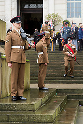 Members of 4th Battalion the Yorkshire Regiments  Burma Company perform corner guard duty at the Barnsley War Memorial outside the Town Hall as Barnsley Remembrance Sunday in Barnsley South Yorkshire <br /> <br />  08 October 2015<br />  Copyright Paul David Drabble<br />  www.pauldaviddrabble.co.uk
