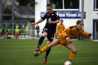 Photo: Rich Eaton.<br /> <br /> Carmarthen Town v SK Brann. UEFA Cup Qualifying. 19/07/2007. SK Brann's Robbie Winters (l) gets in an early shot on goal.