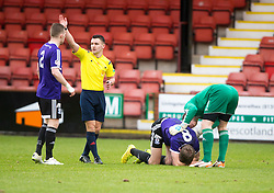 Ayr United&rsquo;s Jamie Adams injured. <br /> Dunfermline 3 v 2 Ayr United, Scottish League One played at East End Park, 13/2/2016.
