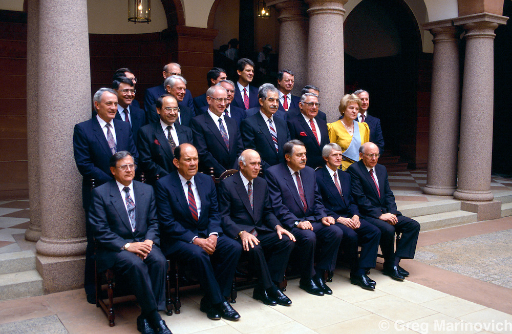 The last official portrait session of the last all-white Apartheid cabinet at the Union Buildings, Pretoria, 1992.