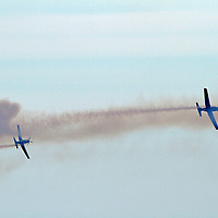 The Royal New Zealand Air Force (RNZAF) Black Falcons aerobatic put on a free show over Ocean Beach, Dunedin ,NZ