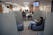 Ohio University students use the new CoLab space in Alden Library.  The coLab space is designed as a physical hub for student innovation and entrepreneurship activities across campus. © Ohio University/ Photo by Benjamin Wirtz Siegel