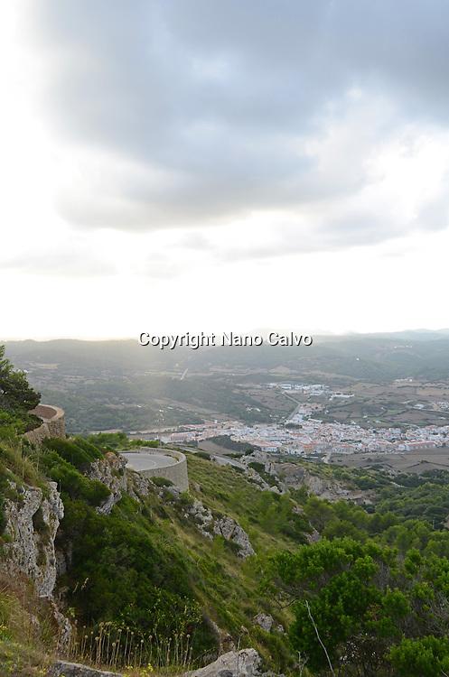 Aerial view of Es Mercadal from Mount Toro (Monte Toro), Menorca
