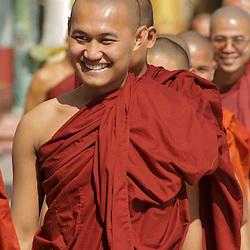 Monks in procession at the Schwedagon Pagoda in Yangon, Myanmar.