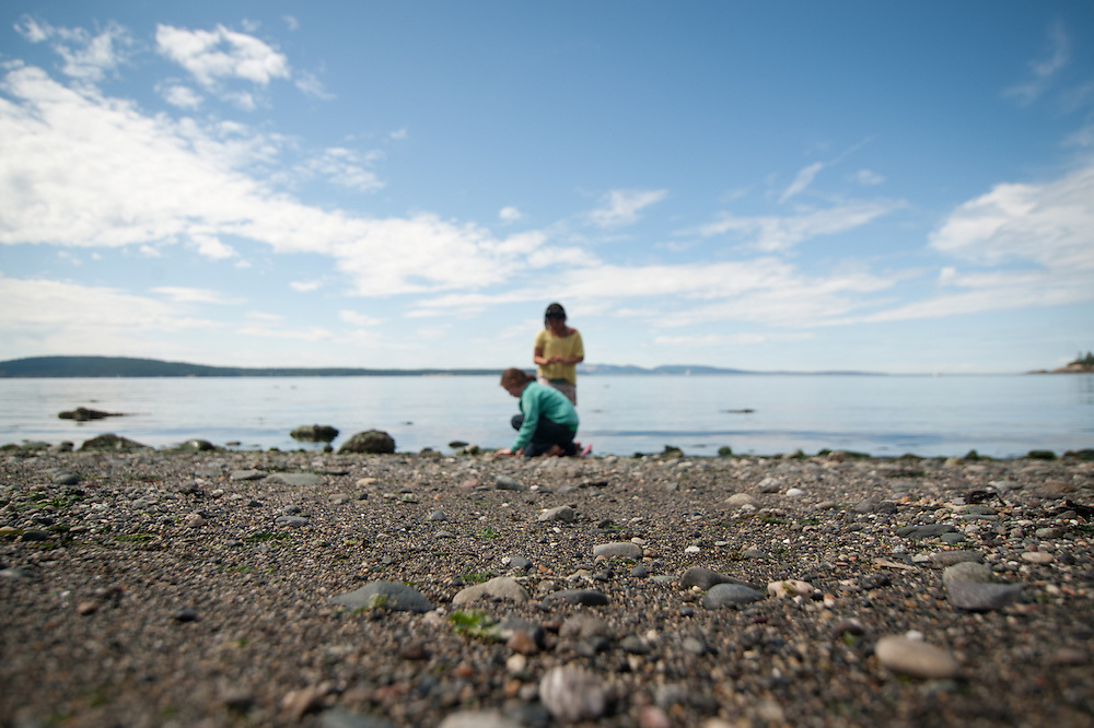 Children playing on a beach on Orcas Island.