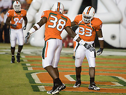 Miami (FL) defensive back Damien Berry (38) and Miami (FL) wide receiver Ryan Lacedonia (33) in pre-game warmups.  The #19 Virginia Cavaliers defeated the Miami Hurricanes 48-0 at the Orange Bowl in Miami, Florida on November 10, 2007.  The game was the final game played in the Orange Bowl.