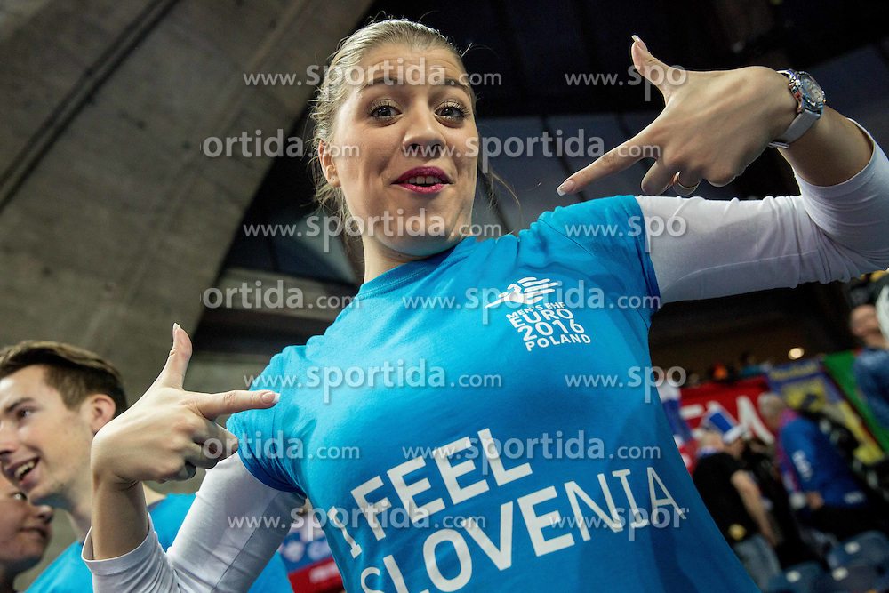 Fan of Slovenia during handball match between National teams of Slovenia and Spain on Day 4 in Preliminary Round of Men's EHF EURO 2016, on January 18, 2016 in Centennial Hall, Wroclaw, Poland. Photo by Vid Ponikvar / Sportida