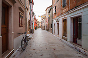 Street and bicycle, Skradin, Dalmatia, Croatia