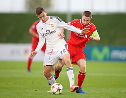 MADRID, SPAIN - Tuesday, November 4, 2014: Liverpool's captain Jordan Rossiter in action against Real Madrid CF's Jack Harper during the UEFA Youth League Group B match at Ciudad Real Madrid. (Pic by David Rawcliffe/Propaganda)