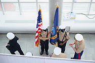 Garden City, New York, USA. June 6, 2019. Members of Freeport High School Navy Junior ROTC prepare to make entrance during Apollo at 50 Anniversary Dinner, an Apollo astronaut tribute celebrating the Apollo 11 mission Moon landing.
