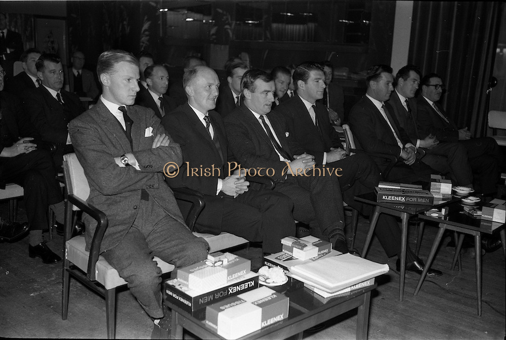28/12/1962<br /> 12/28/1962<br /> 28 December 1962<br /> Goodbody's Conference at the South County Hotel, Dublin. The conference seems to have been to promote Kleenex for Men tissues, Goodbodys Ltd. may have been the distributers. Note the packets of Carrolls cigarettes who may have been a sponsor.