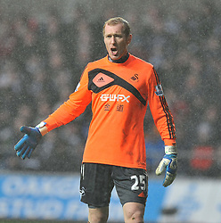 Frustrated Swansea City's Gerhard Tremmel - Photo mandatory by-line: Alex James/JMP - Tel: Mobile: 07966 386802 01/01/2014 - SPORT - FOOTBALL - Liberty Stadium - Swansea - Swansea City v Manchester City - Barclays Premier League