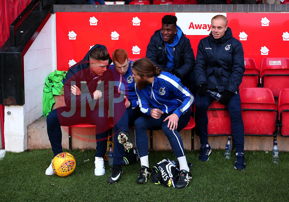 James Clarke, Rory Gaffney, Stuart Sinclair, Rollin Menayese and Ryan Broom of Bristol Rovers sit on the bench at Walsall - Mandatory by-line: Robbie Stephenson/JMP - 26/12/2017 - FOOTBALL - Banks's Stadium - Walsall, England - Walsall v Bristol Rovers - Sky Bet League One