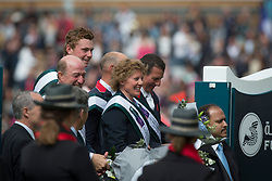 Team England, Clee Joe, Roe Spencer, Williams Guy, Whitaker Michael, chef d'euipe Di Lampard<br /> Winners of the Furusiyya FEI Nations Cup presented by Longines<br /> Longines Jumping International de La Baule 2015<br /> © Hippo Foto - Dirk Caremans<br /> 15/05/15