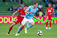 MELBOURNE, AUSTRALIA - APRIL 13: Melbourne City midfielder Rostyn Griffiths (7) defends the ball during round 25 of the Hyundai A-League soccer match between Melbourne City FC and Adelaide United on April 13, 2019 at AAMI Park in Melbourne, Australia. (Photo by Speed Media/Icon Sportswire)