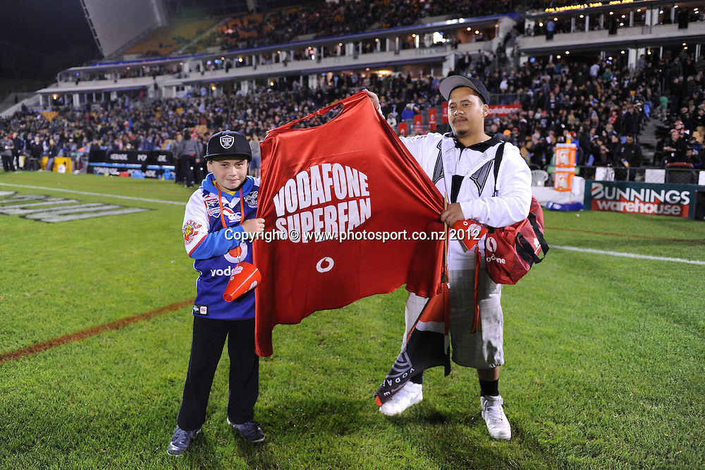 Superfan. Vodafone Fans and supporters at the Warriors v Roosters match at Mt Smart Stadium on Saturday 12 May 2012. Photo: Andrew Cornaga/photosport.co.nz
