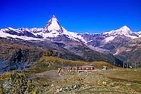 Gornergratbahn (cog railroad) in foreground and the Matterhorn behind, above Zermatt, Switzerland