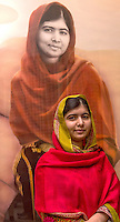 Malala Yousafzai unveils her official portrait by artist Nasser Azam at Barbar Institute Of Fine Art in Birmingham, England.  (Photo by Richard Stonehouse/Getty Images)