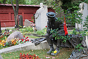 Grave of the Soviet Russian actor Yuri Nikulin at Novodevichy Cemetery in Moscow, Russia