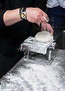 Making Tortellini pasta Kneading the dough