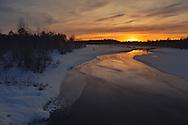 Winter landscape at midday, Övertorneå, Norrbotten, Sweden.