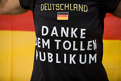 """Steffi Nerius of Germany who won the gold medal in the women's Javelin Throw with a T-shirt """"Thank you The Best public"""" at the Closing ceremony at the end of day nine of the 12th IAAF World Athletics Championships at the Olympic Stadium on August 23, 2009 in Berlin, Germany. (Photo by Vid Ponikvar / Sportida)"""