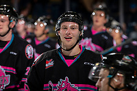 KELOWNA, BC - SEPTEMBER 21:  Michael Farren #16 of the Kelowna Rockets celebrates the game win against the Spokane Chiefs  at Prospera Place on September 21, 2019 in Kelowna, Canada. (Photo by Marissa Baecker/Shoot the Breeze)
