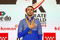 November 10, 2018 - Madrid, Madrid, Spain - Asgari Ghoncheh Bahman (IRI) win the gold medal and win the tournament of male Kumite -75 Kg during the Finals of Karate World Championship celebrates in Wizink Center, Madrid, Spain, on November 10th, 2018. (Credit Image: © AFP7 via ZUMA Wire)
