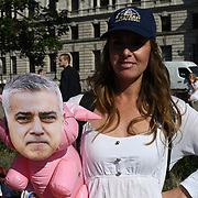 Alt-Right,  anti-Mayor of London take the revenge after Trump baby with a 29ft Gaint ballon of a Bikini-clad Sadiq Khan blimp to fly over London at Parliament Square on 1st September 2018, London, UK.