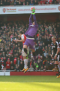 Watford goalkeeper, Costel Pantilimon (18) with another save during the The FA Cup Quarter Final match between Arsenal and Watford at the Emirates Stadium, London, England on 13 March 2016. Photo by Matthew Redman.